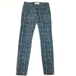 CAbi Jeans Blue Grid Printed Skinny Ankle 1840